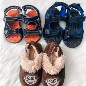 Bundle of 3 Pairs of Boys Sandals and Slippers